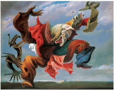 Figura 2 - Max Ernst. Hausengel [L'Ange du foyer] ou Le Triomphe du surréalisme. 1937. Óleo sobre tela. 114 x 146 cm. Coleção particular.11