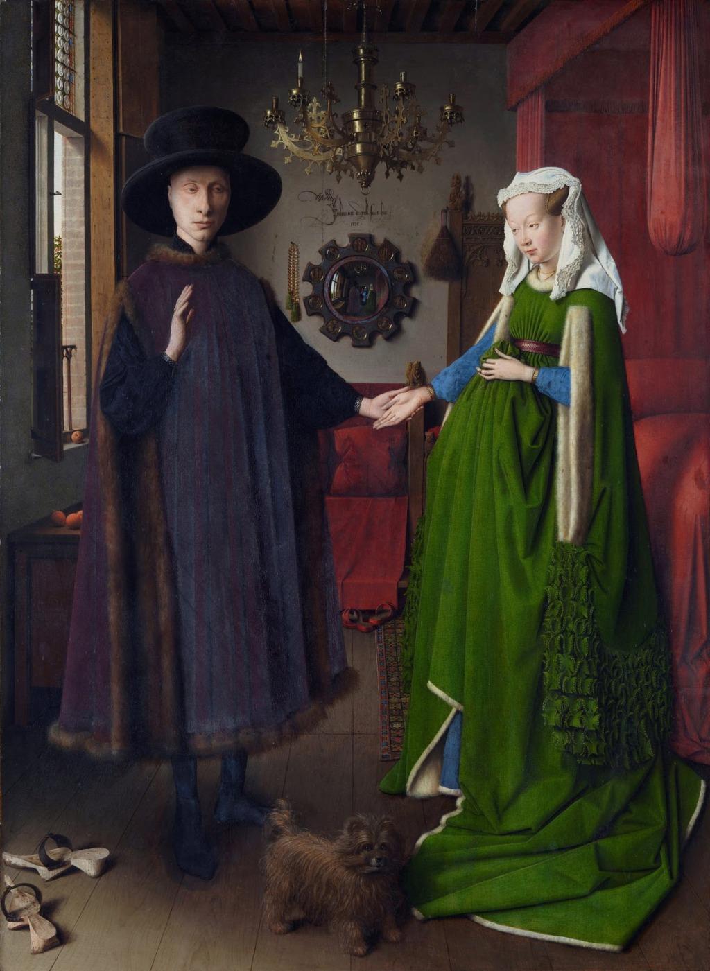 Figura 1 - Jan van Eyck. Os Esponsais dos Arnolfini, 1434. Óleo sobre madeira, 81,8 x 59,7 cm; National Gallery, Londres.